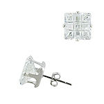 Sterling Silver 8mm Invisible Cut Square CZ Stud Earrings