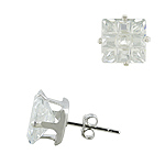 Sterling Silver 9mm Invisible Cut Square CZ Stud Earrings