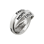 Sterling Silver Faith, Love, Hope Trinity Band