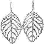 Sterling Silver Textured Finish Leaf Earrings