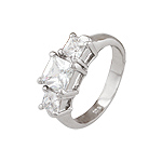 Sterling Silver Platinum Finish Triple Princess CZ Engagement Ring