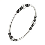 Sterling Silver 3mm Bali Style Beaded Bangle (Bead size 8mm)