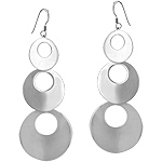 Sterling Silver Three Rings Cascade Dangle Earrings