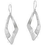 Sterling Silver Scratch Finish Twisted Loop Dangle Earrings