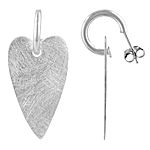 Sterling Silver Scratch Finish Dangling Heart Stud Earrings