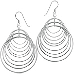 Sterling Silver Cascading Circles Dangle Earrings