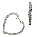 Sterling Silver Lavender Pave Cubic Zirconia Heart Hoop Earrings