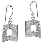 Sterling Silver Hammered Folded Square Dangle Earrings