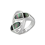 "Sterling Silver ""Orbit"" Ring with Black Mother of Pearl"