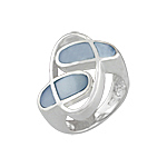 "Sterling Silver ""Orbit"" Ring with Blue Mother of Pearl"