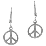 Sterling Silver Peace Sign Dangle Earrings
