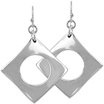 Sterling Silver Open Diamond Dangle Earrings
