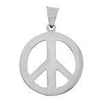 "Sterling Silver 1 1/8"" Peace Sign Pendant"