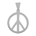 "Sterling Silver 1"" Peace Sign Pendant"