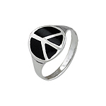 Sterling Silver Peace Sign Ring with Black Onyx