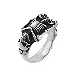 Sterling Silver Skeleton Biker Ring