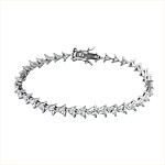 Sterling Silver Rhodium Plated Triangle CZ Tennis Bracelet
