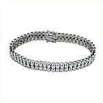 Sterling Silver Rhodium Plated Double Row Brilliant CZ Tennis Bracelet
