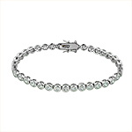 Sterling Silver Rhodium Plated Bezel Set CZ 5mm Tennis Bracelet