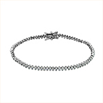 Sterling Silver Rhodium Plated Bezel Set CZ 2mm Tennis Bracelet