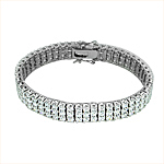 Sterling Silver Rhodium Plated Triple Row Brilliant CZ 10mm Tennis Bracelet