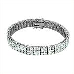 Sterling Silver Rhodium Plated Triple Row Brilliant CZ 10mm Tennis Bracelet