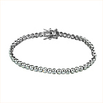 Sterling Silver Rhodium Plated Round CZ 3mm Tennis Bracelet