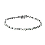Sterling Silver Rhodium Plated X and O 3mm Tennis Bracelet