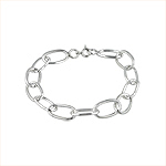 Sterling Silver Oval Open Links Bracelet