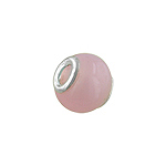 Sterling Silver and Solid Pink Murano Glass Bead