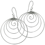 Sterling Silver Round Spiral Dangle Earrings