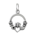 Sterling Silver Open Heart Claddagh Pendant