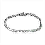 Sterling Silver Rhodium Plated 4mm V Bars and CZ Stone Tennis Bracelet