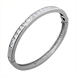 Sterling Silver 5mm Pave CZ Oval Bangle