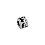 "Sterling Silver ""E"" Square Bead"