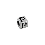 "Sterling Silver ""P"" Square  Bead"