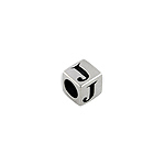 "Sterling Silver ""J"" Square Bead"