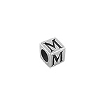 "Sterling Silver ""M"" Square Bead"