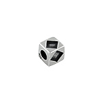 Sterling Silver Diamonds Square Bead