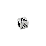 "Sterling Silver ""A"" Square Bead"