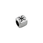 Sterling Silver Pisces-The Fish Square Bead