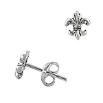 Sterling Silver Miniature Fleur de Lis Stud Earrings