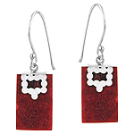 Sterling Silver and Red Coral Rectangular Dangle Earrings