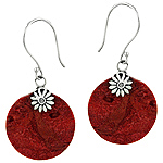 Sterling Silver and Red Coral Round Dangle Earrings