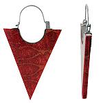 Sterling Silver and Red Coral Traingular Hoop Earrings