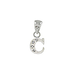 "Sterling Silver Textured ""C"" Initial Pendant with White CZ"