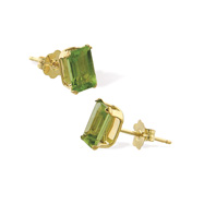 14K 6x4mm Genuine Semi-Precious Peridot Emerald Cut Studs