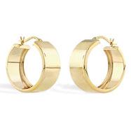 14K Yellow Gold 8.25x20mm Band Hoop Earrings
