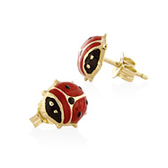 14K Large Black And Red Enamel Lady Bug Posts