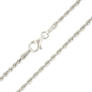 10K White Gold 1.8mm Diamond Cut Solid Rope Chain